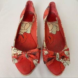 Tory Burch | Red Floral Bow Detail Espadrilles | 9